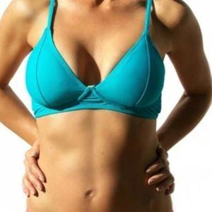 NWT Bralette Bikini Top Neon Blue/ caged back sz M